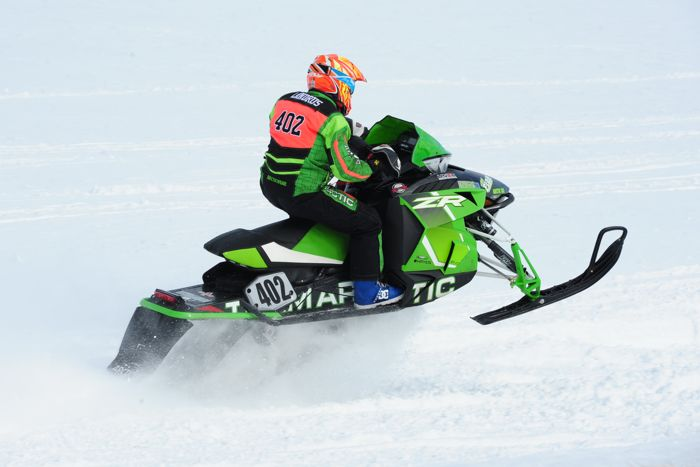 Arctic Cat racer Savannah Landrus wins in Warroad. Photo by ArcticInsider.com
