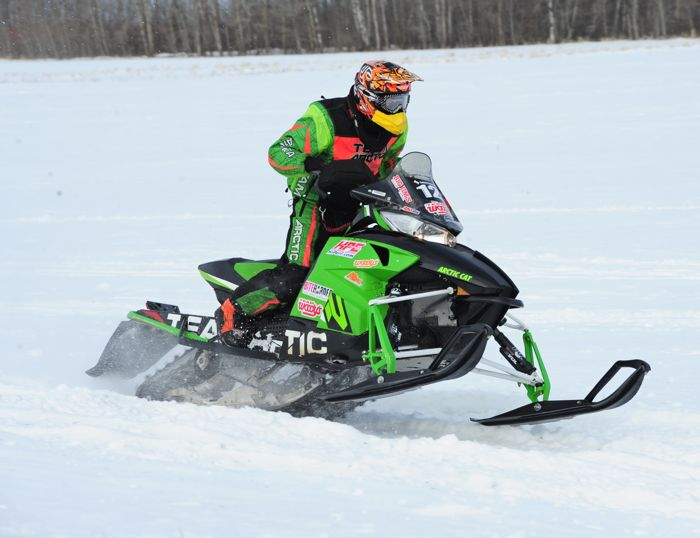 Arctic Cat racer Garet Grzadzielewski wins in Warroad. Photo by ArcticInsider.com