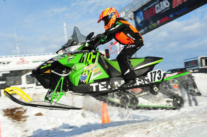 Arctic Cat racer Paul Brown wins in Warroad. Photo by ArcticInsider.com
