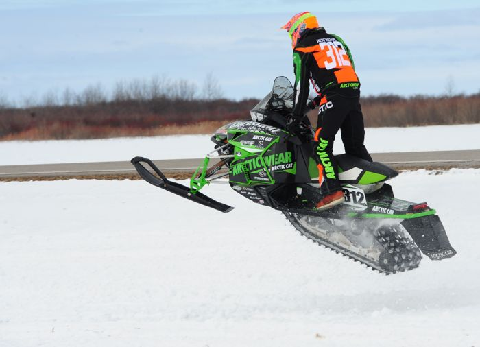 Team Arctic Cat racer Zach Herfindahl wins Warroad cross-country. Photo by ArcticInsider.com