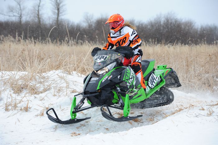 Arctic Cat racer Lydia Sobek wins in Warroad. Photo by ArcticInsider.com