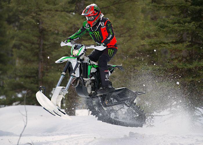 Tucker Hibbert rides the 2017 Arctic Cat SVX 450 Snow Bike.