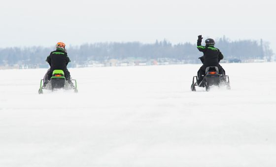 Arctic Cat engineers testing snowmobiles. photo by arcticinsider.com