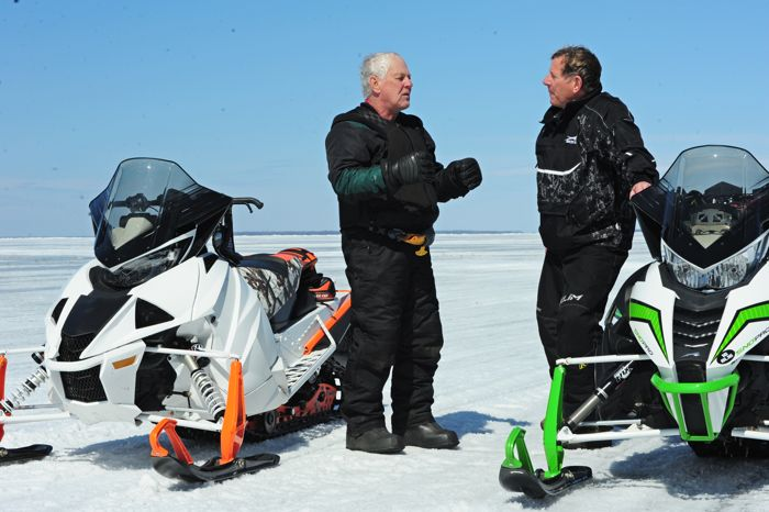 Team Arctic's Larry Coltom (L) and Jim Dimmerman talk about the turbo Thundercat. Photo ArcticInsider.com