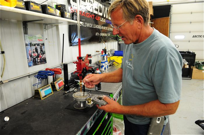Jim Dimmerman verifies the engine head displacement.