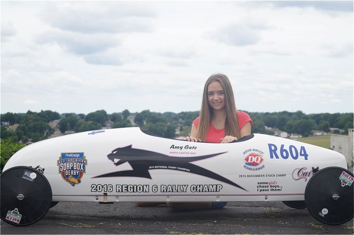 Amy Getz and her Soap Box Derby Arctic Cat.