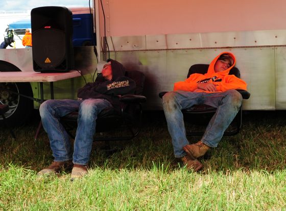 Passed out and sleeping at Hay Days.