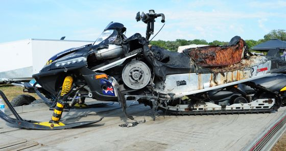 Burned up Arctic Cat Firecat at Hay Days. Photo by ArcticInsider.com