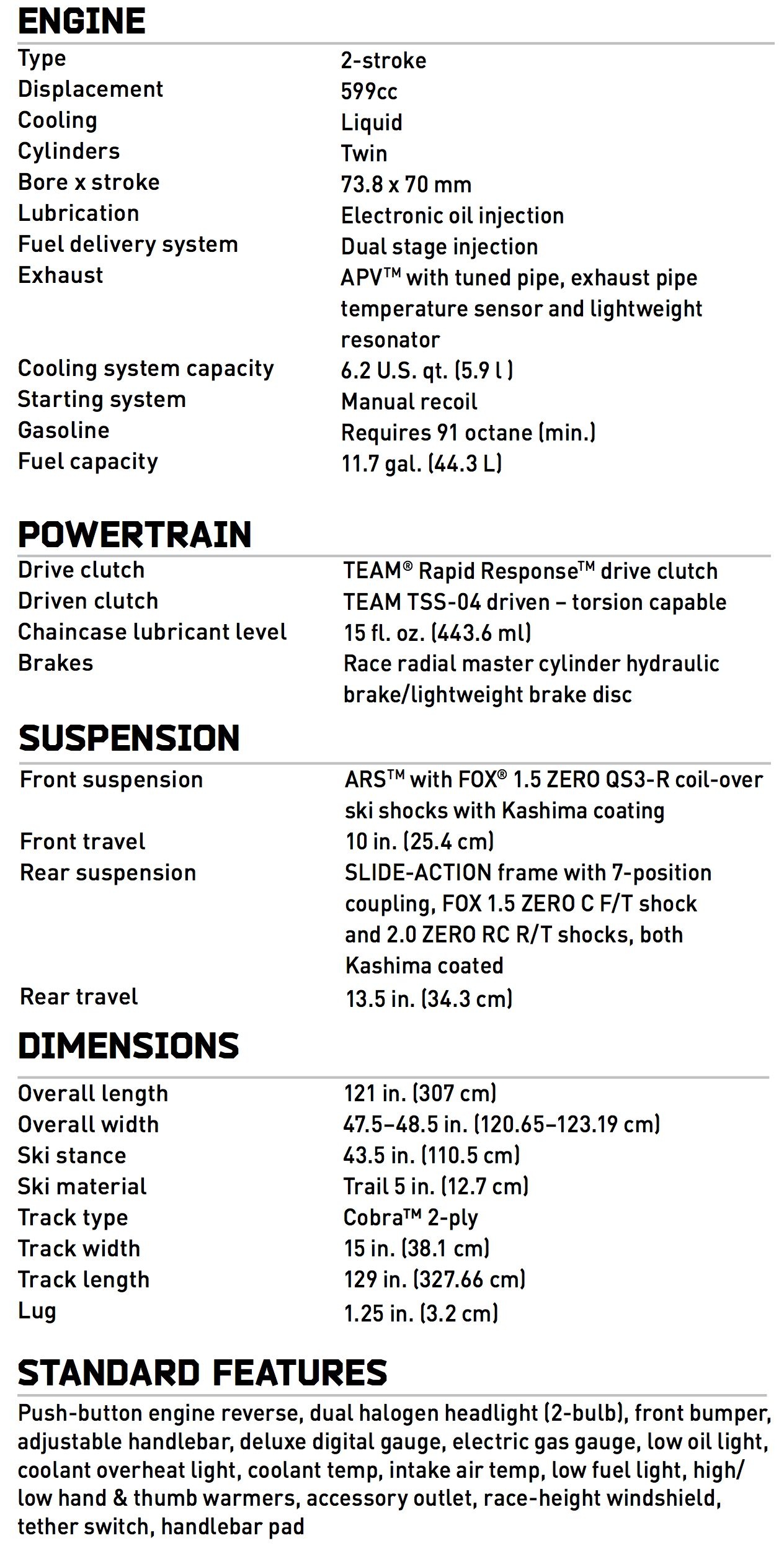 2017 Arctic Cat ZR 6000R XC race sled specifications. Photo at ArcticInsider.com
