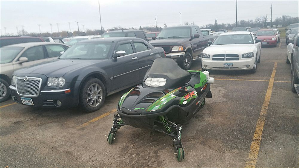 Snowmobile parked at Arctic Cat on Halloween 2016.
