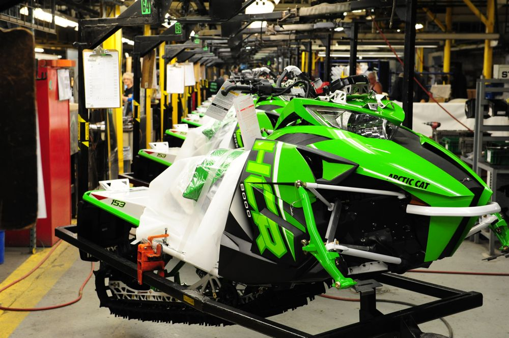 2017 Arctic Cat HCR models on the assembly line. Photo by ArcticInsider.com