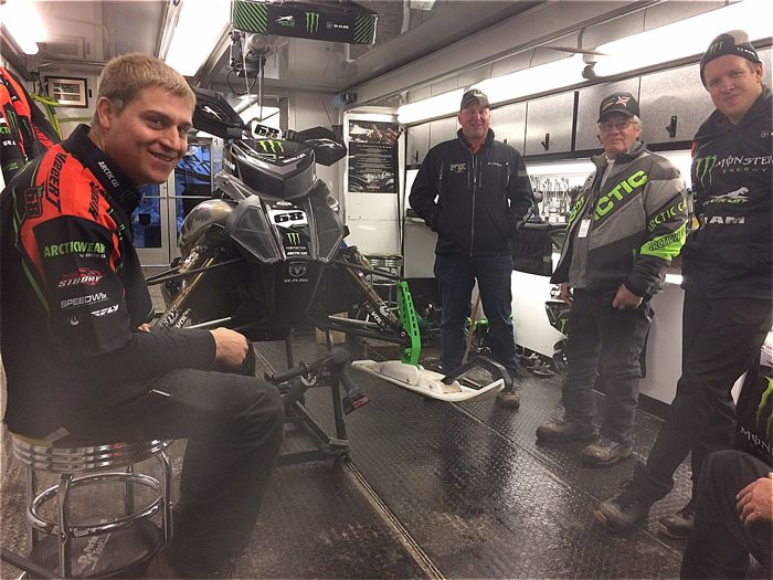 Inside the Tucker Hibbert race trailer. Photo by ArcticInsider.com