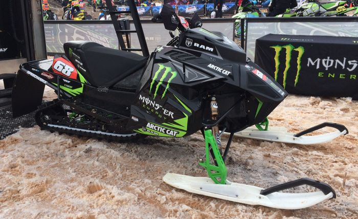 Tucker Hibbert's 2016-2017 Arctic Cat race sled. Photo by ArcticInsider.com