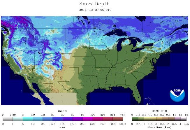 US Snow Depth on Dec. 27, 2016