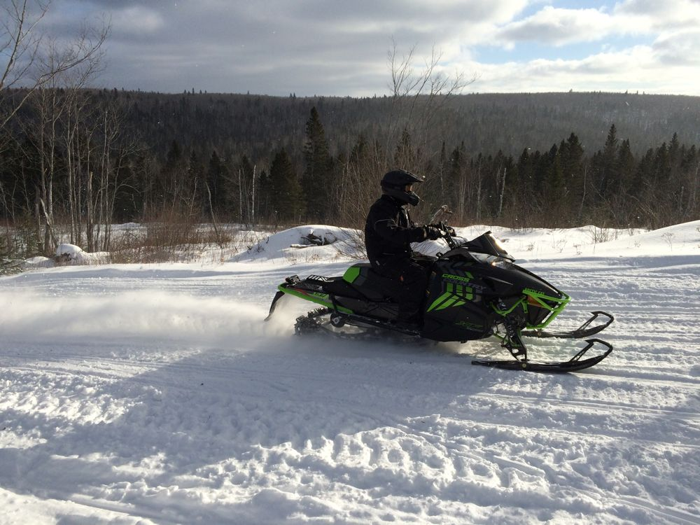 Snowmobiling on Jan. 1, 2017 along Minnesota's North Shore State Trail.
