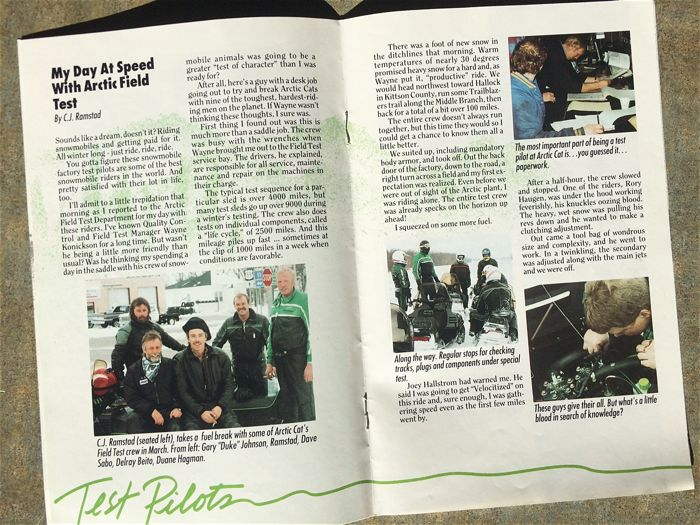 Pride Magazine story on Arctic Cat Field Test riders.