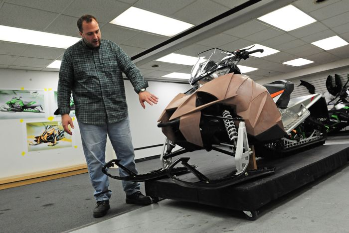 Arctic Cat's Nathan Blomker shows a design iteration of the Next Gen bodywork. Photo by ArcticInsider.com