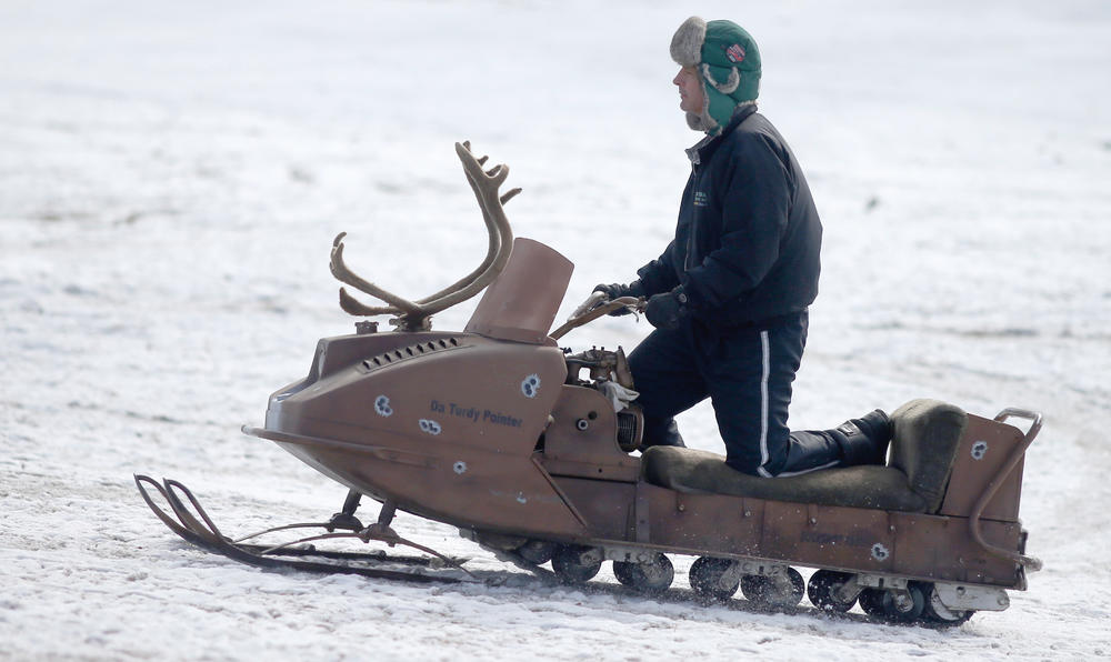 TGIF vintage sled with antlers