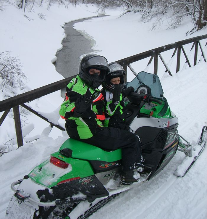 2-up family style snowmobiling, the old-school way.