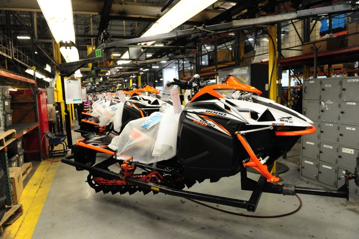 2018 Arctic Cat M8000 Sno Pro on the assembly line. Photo by ArcticInsider.com