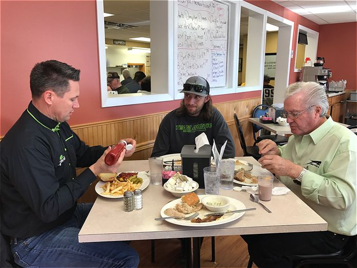 Lunch with Arctic Cat's Troy Halvorson, Wes Selby and Roger Skime.