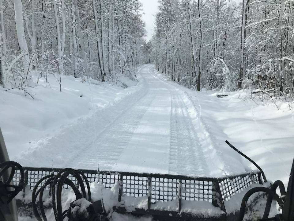 Winter arrived in Bergland, Mich., for snowmobiling in November 2017.