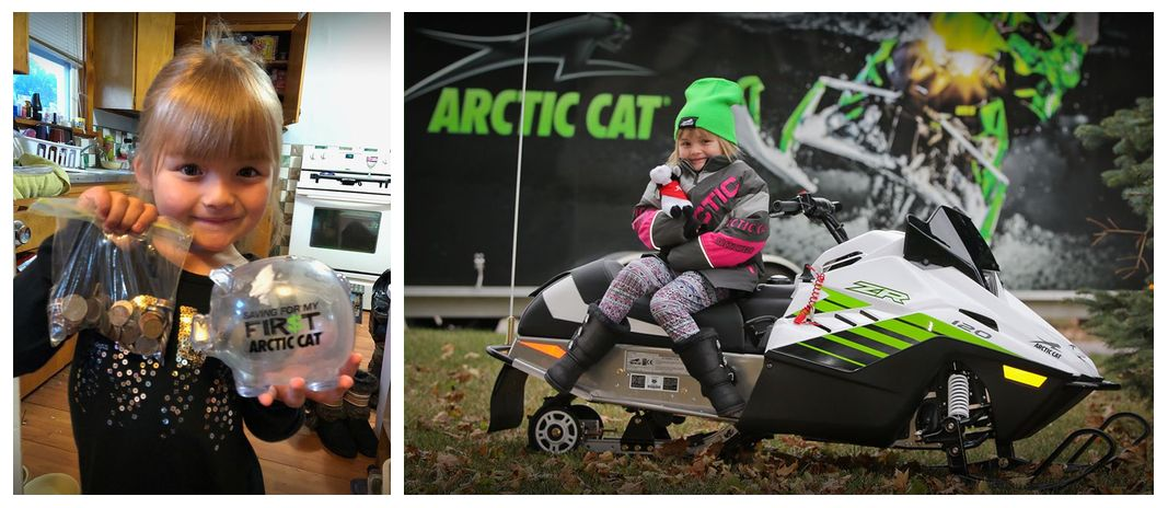 Sunshine Oelfke gets her Arctic Cat ZR 120 snowmobile.
