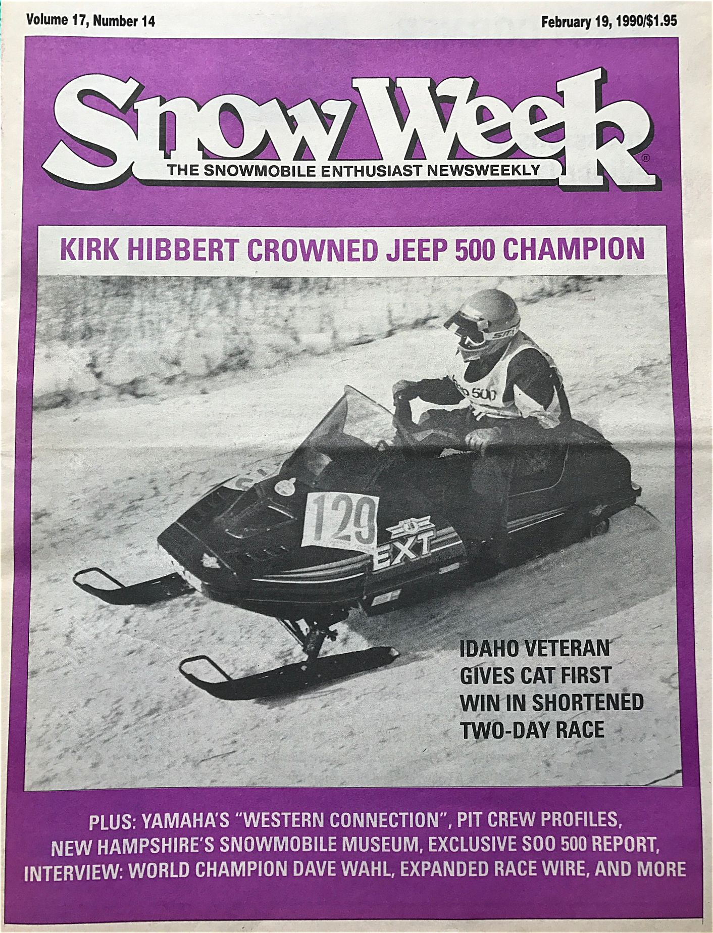 Snow Week magazine with Kirk Hibbert's win in the 1990 Jeep 500.