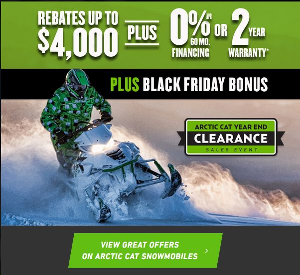 Arctic Cat snowmobile clearance sale