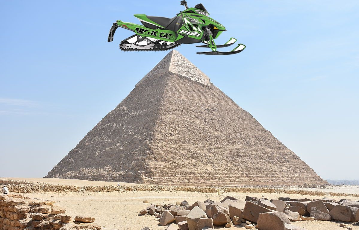 Arctic Cat's chassis that was inspired by Egyptian pyramids.