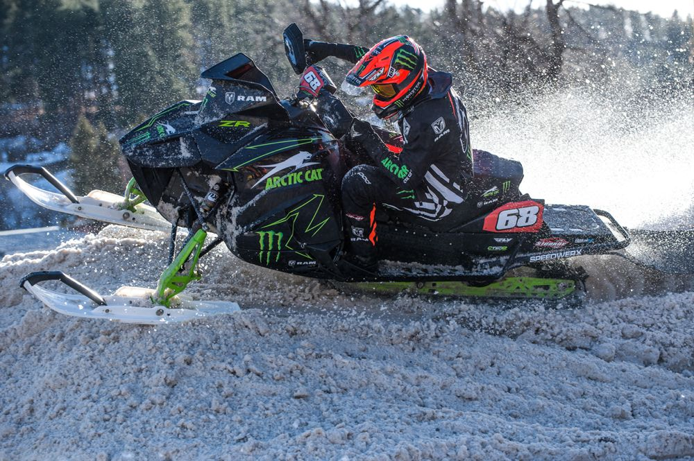 Team Monster Arctic Cat Tucker Hibbert doubles in Deadwood. Photo by Lissa.