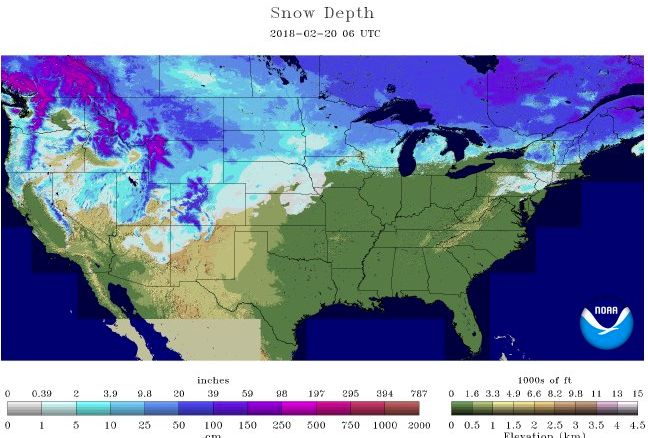 Snow Depth report for 2-20-18