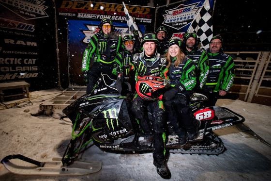 Team 68 celebrate Tucker Hibbert's 100th Pro win in Deadwood, 2015.