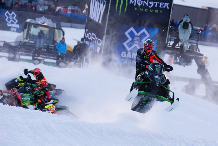 Tucker Hibbert wins his 10th X Games Gold in 2016. Monster Arctic Cat. Photo by John Hanson