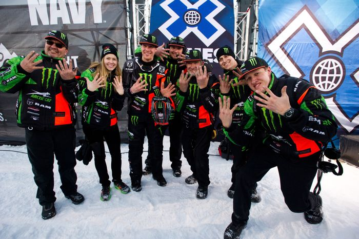 Monster/Arctic Cat Team 68 celebrate Tucker Hibbert's 9-peat at X Games. Photo by Hanson.