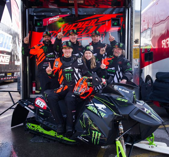 Monster Arctic Cat, Team 68 celebrate Tucker's 11th Championship. Photo by John Hanson.