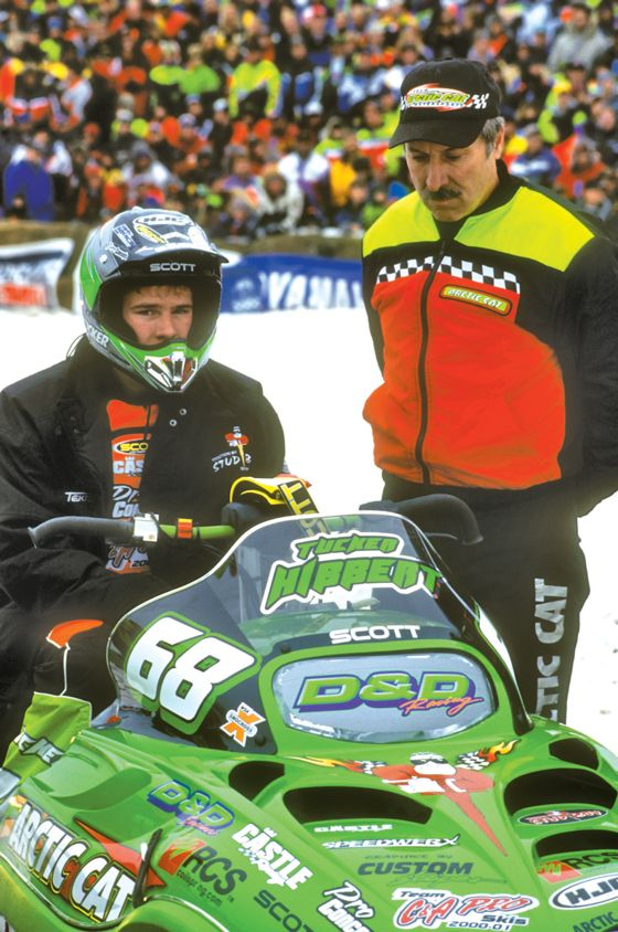 Tucker Hibbert and then-mechanic Russ Ebert in 2001. Photo by ArcticInsider.com