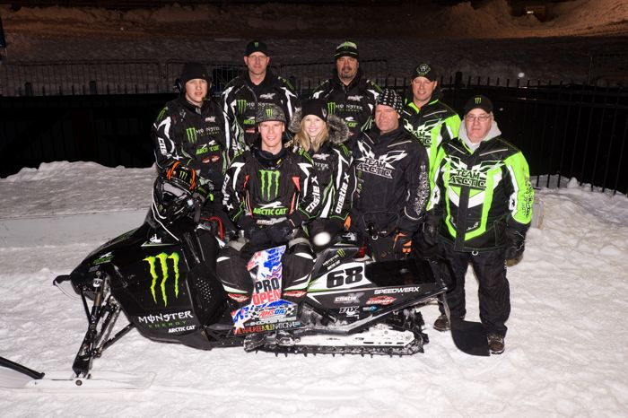 Tucker Hibbert and the Monster Arctic Cat team pose after the 50th win. Photo by Hanson.