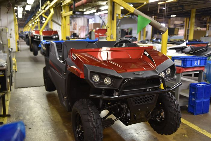 2018 Stampede 4 on the assembly line in Thief River Falls. Photo by ArcticInsider.com