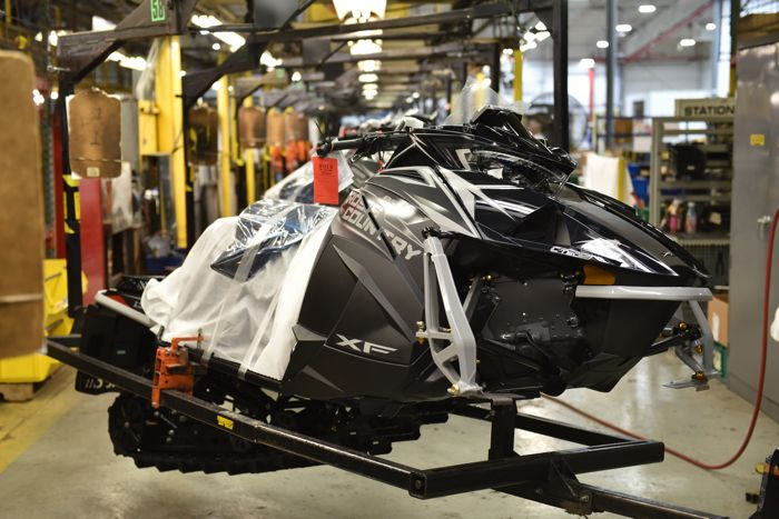 2019 Arctic Cat XF 8000 Cross Country models on the assembly line. Photo by ArcticInsider.com