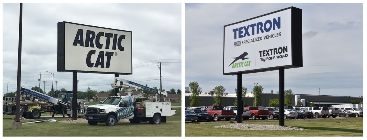 Textron and Arctic Cat sign in Thief River Falls. Photo by ArcticInsider.com