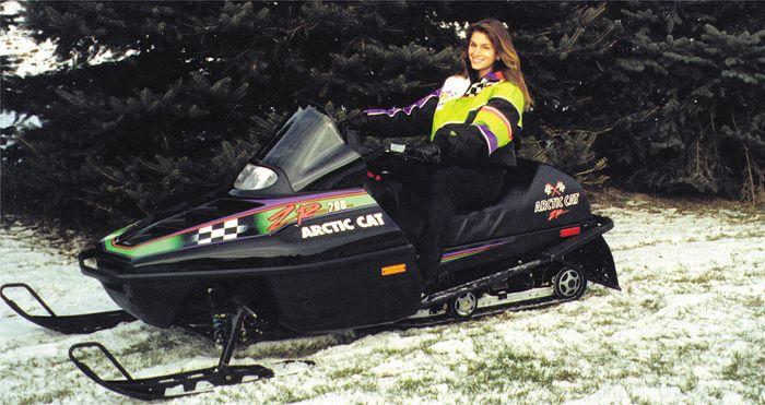 Model Cindy Crawford on an Arctic Cat ZR 700.
