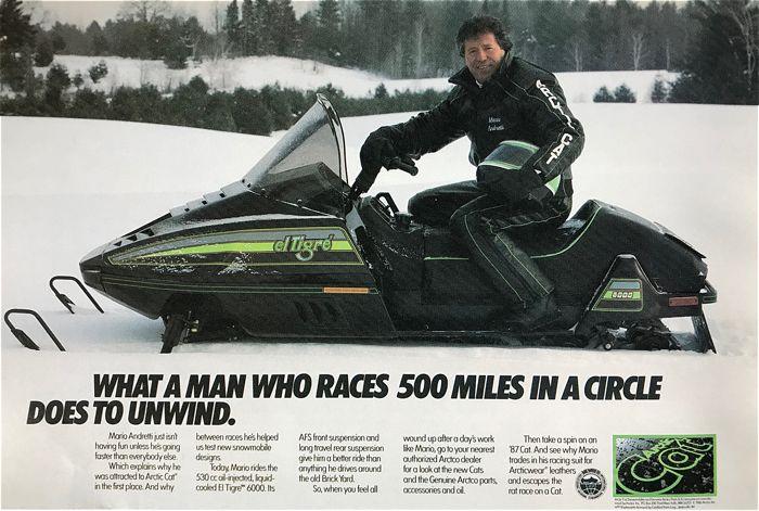 Mario Andretti and his Arctic Cat El Tigre.