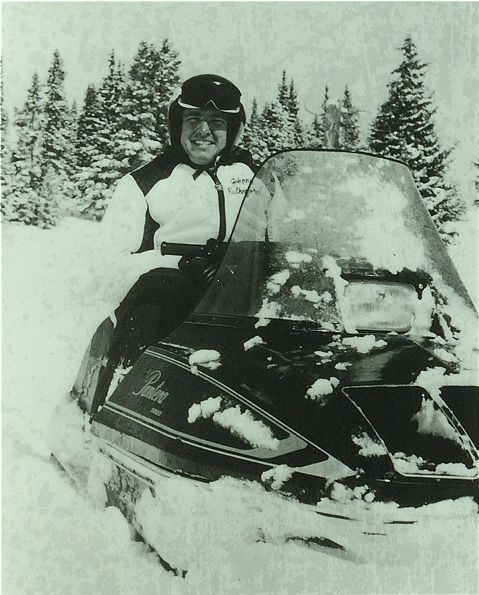 Indy 500 winner Johnny Rutherford on an Arctic Cat Pantera.