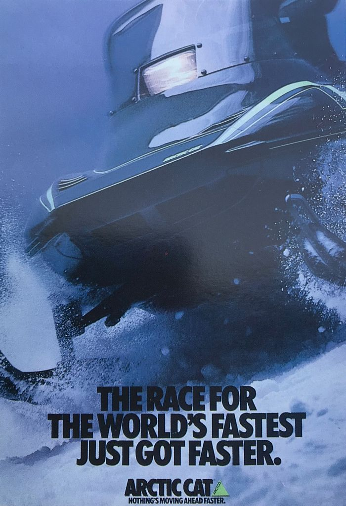 Arctic Cat advertising worlds fastest snowmobile