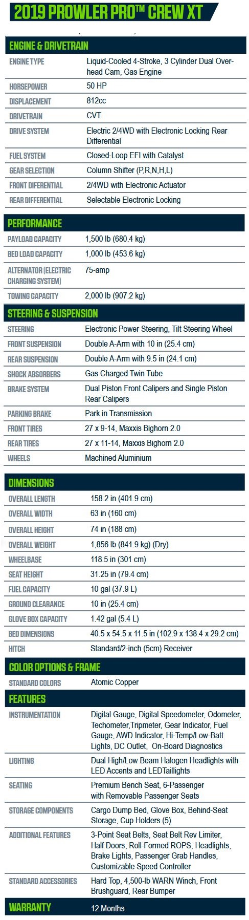 2019 Prowler Pro Crew XT Specifications