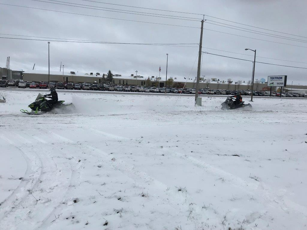 Arctic Cat engineers snowmobiling in TRF on Oct. 11, 2018.