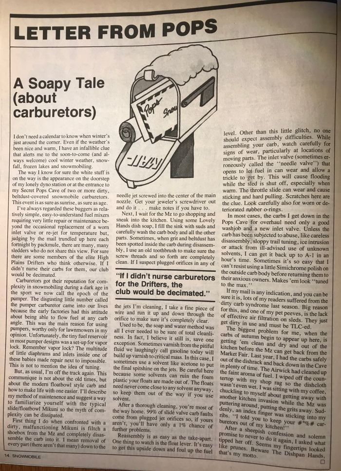 C.J. Ramstad's Letter From Pops, Nov. 1982 Snowmobile Magazine.
