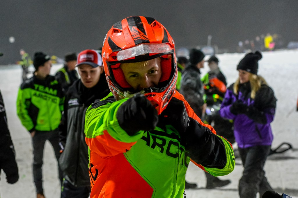 Daniel Benham wins his first Pro National Snocross. Photo by Ride365