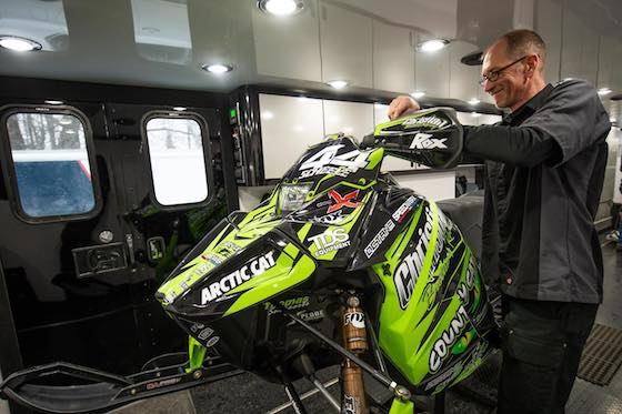Aaron Scheele preps a Christian Brothers Racing sled with Octane Ink graphics wrap